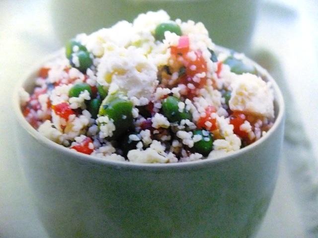 Couscous, broad beans, peas, mint and feta salad