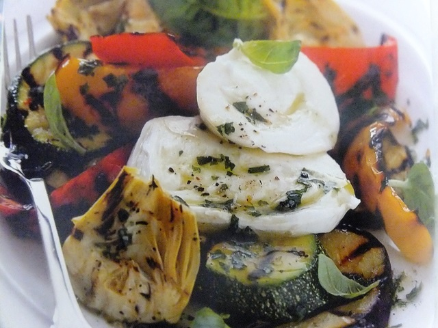 Griddled vegetables with mozzarella