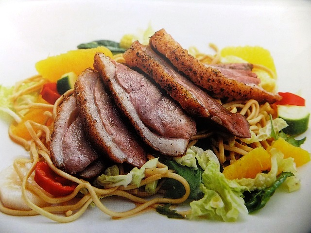 Chinese duck, orange and noodle salad