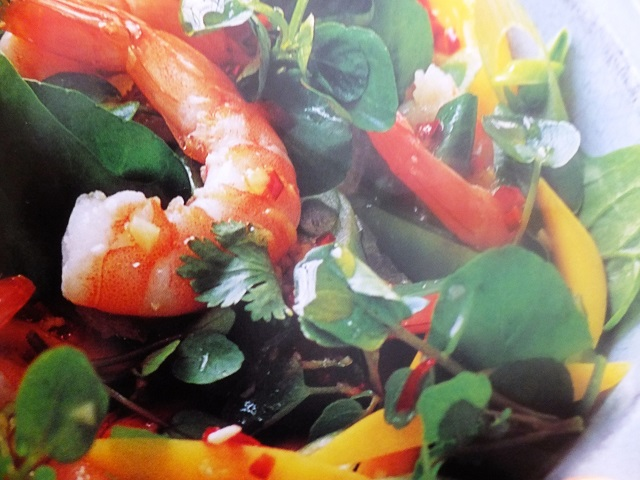 Prawn, watercress and spinach salad