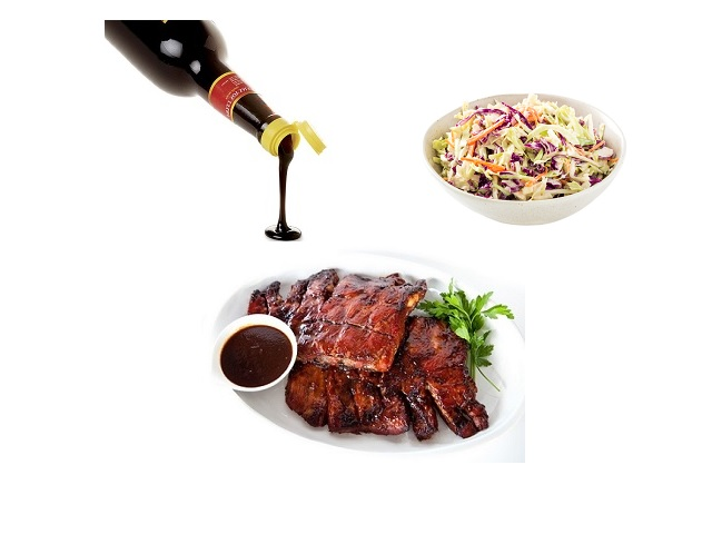 Sticky spare ribs and crunchy slaw