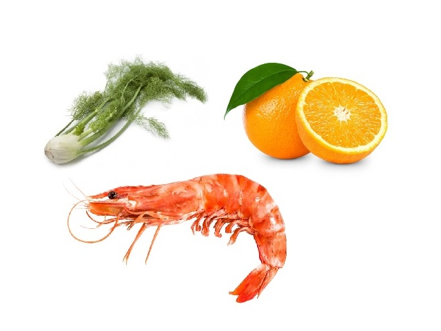 Prawn, orange and fennel salad