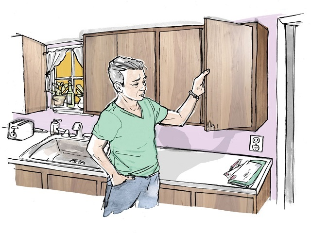 How to repair cracks in old kitchen plastic cabinets