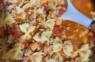 EZ bow tie ground turkey pasta